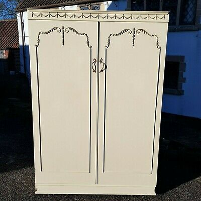 A Vintage Louis French Rococo Style 2 Door Wardrobe with Gilt Coloured Details