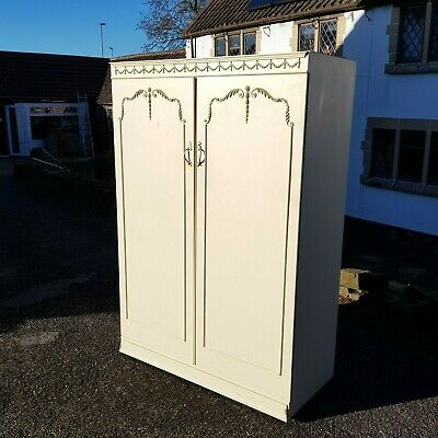 A Vintage Louis French Rococo Style 2 Door Wardrobe with Gilt Coloured Detailing