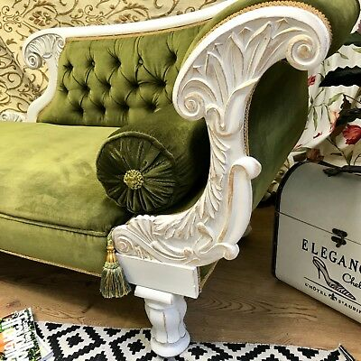 Shabby chic Victorian Chaise Longue In stunning condition Sofa Loveseat Green