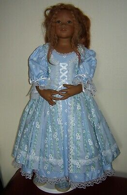 """Stunning daisy's and polka dots dress + Pinafore for himstedts etc. 32-36"""" doll"""
