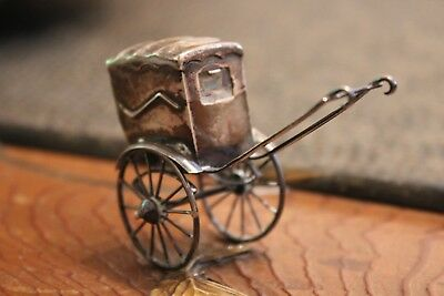 Antique Sterling Silver Miniature Rickshaw Figurine