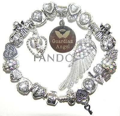 Authentic PANDORA Bracelet 925 Silver with GUARDIAN ANGEL, WHITE European Charms
