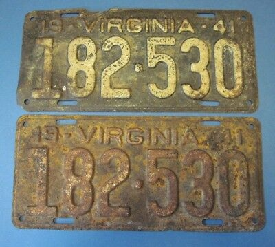 1941 Virginia License Plates Matched pair