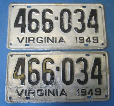 1949 Virginia License Plates matched pair