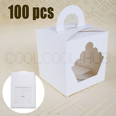 100PCS 1 Hole Single Cupcake Boxes Window Display Cases Handle For Party Wedding