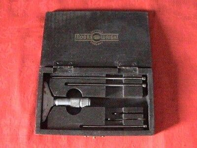 Vintage Moore and Wright No 55 Depth micrometer with 0-1/1-2/2-3 extension bars
