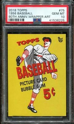 2018 Topps 80th Anniversary Wrapper Art #75 ~ 1956 Baseball SP /356 ~ PSA 10 GEM