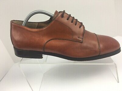 7aa1d2bb5c9c Saks Fifth Avenue Brown Cap Toe Lace Up Derby Dress Shoes Mens Size 9 M  Italy
