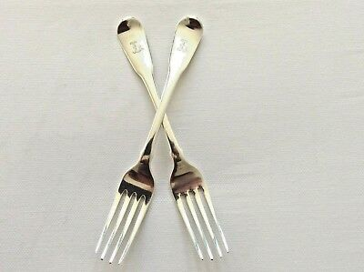 Pair of Antique S/S  Dessert Forks by London Mkr R Crossley & G Smith IV 1804
