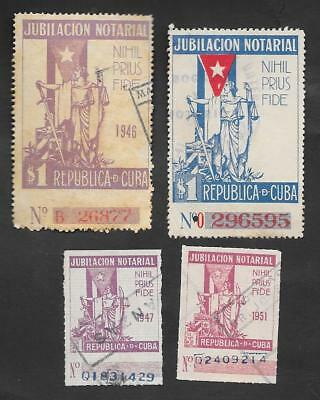 M-26 Caribbean, lot of 4 revenue stamps ¨Notarial Retirement¨, 1946,1951