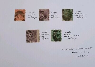 Gb Stamps Queen Victoria 5X Surface Printed Stamps Cat £745 Used