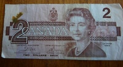 CANADA  TWO  DOLLAR NOTE - Series AUN - 1986
