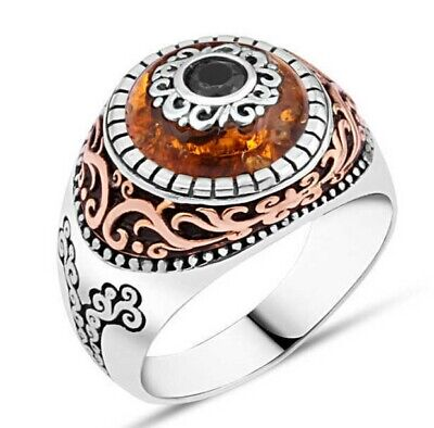 Details about  /Turkish 925 Sterling Silver İslamic Double Zulficar Sword Amber men ring Al Size