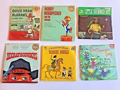 6 Vintage Children's 45 Records - Woody Woodpecker, Quick Draw McGraw  (#101)