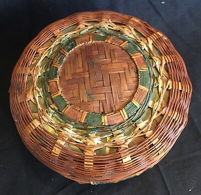 Vintage Chinese Woven Reed Basket for Tea or Sewing 1950's.  Variety of weaving.