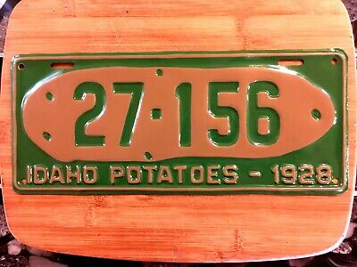 Rare 1928 Idaho Potatoes License Plate 27-156 Older Pro Repaint Restored Maine