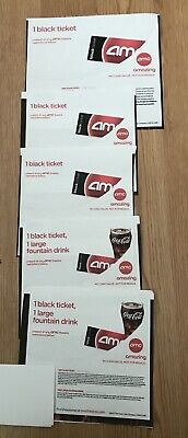 (5) AMC Black Movie Tickets And (2) Large Fountain Drinks