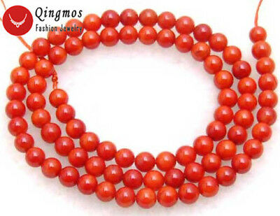 "3-4mm Round Red Natural Coral Beads for Jewelry Making Necklace DIY 15"" los206"