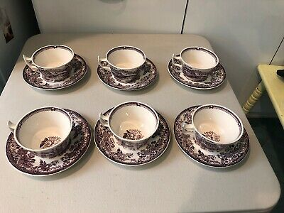 Royal Staffordshire Tonquin Plum  Tea Cups & Saucers, Set of 6