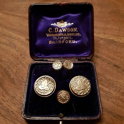 Boxed Set of 5 x Victorian pinchbeck ? Waistcoat Buttons in original box ..
