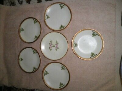 Arts & Crafts Mission Hand Painted Plate LOT OF 6 FRANCE GOLD GILT B & CO