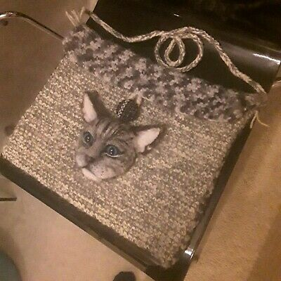 Ooak needle felted lifesize Cat head face on knitted handbag Hand made by Nikita