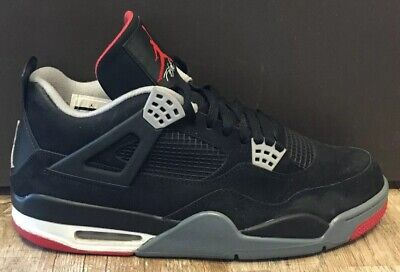 outlet store 6b9ad a4169 Nike Air Jordan Retro IV 4 Bred Black Cement Mens Size 12 Red Gray  AUTHENTIC box