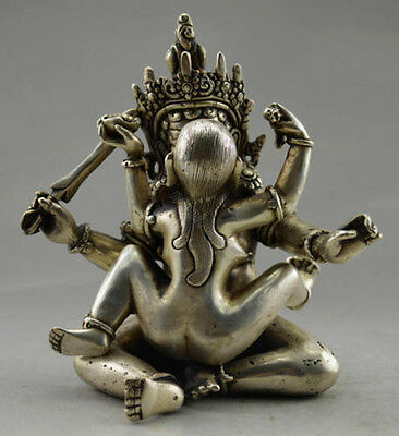 China Decorated Old Handwork Visual Arts Tibet Silver Carved Buddha Statue