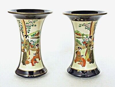 Pair Of Antique Meiji Satsuma Vases, Painted Figures In Garden, Signed Fuzan