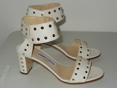 Jimmy Choo White Veto 65 Studded Patent Leather Sandals Size 35.5