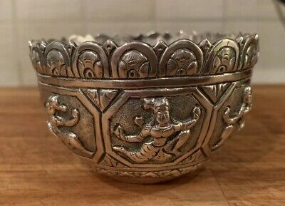 Antique Silver Indian Burmese Thai Figural Alms Bowl Thabeik Hindu Deities