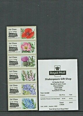 NEW! STRATFORD SHAKESPEARE SYMBOLIC FLOWERS B2GB19 6 1st STRIP Post Go FEB 2019