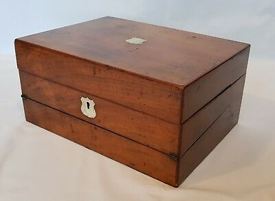 Antique Mahogany c1850 sewing travel work writing slope box mother of pearl