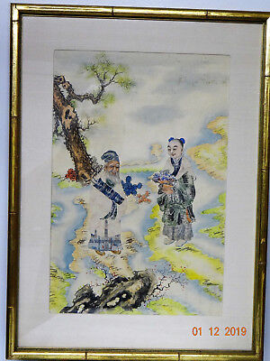 Unique Vintage Framed Asian Postage Stamp Collage Art