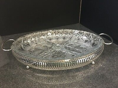 Chrome Plate 4 Segments Serving Tray with Glass Insert