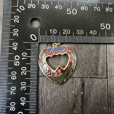 Authentic Vintage Cloisonne Enamel Small Pendant Heart Shaped Hoop Red Flowers