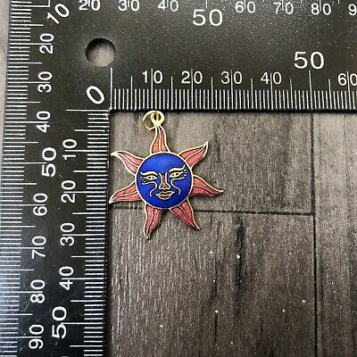 Authentic Vintage Cloisonne Enamel Small Pendant Moon With Face Red And Blue