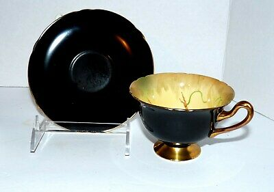 Shelley Black Saucer And Fruit Tea Cup