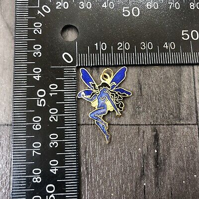 Authentic Vintage Cloisonne Enamel Small Pendant Blue Fairy Tinkerbell Dancing