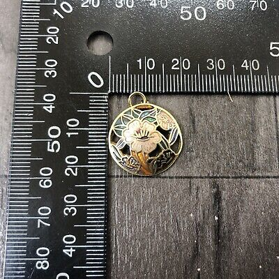 Authentic Vintage Cloisonne Enamel Small Pendant Round Flowers Pink Leaves