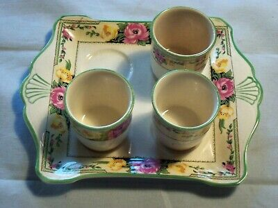 Royal Winton Grimwades Ivory England Tray With 3 Cups