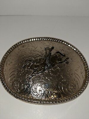 "Vintage 3D Bullrider Belt Buckle - 4 1/2""W x 3 3/4""T - ""W"" Made in USA"