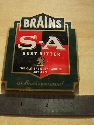 Beer. Pump clip. Brains S A.. Real ale. Thick plastic. Clip. Ale. Skull. Attack.
