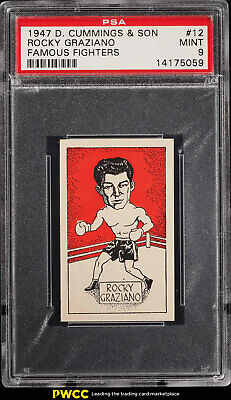 1947 D. Cummings Famous Fighters Rocky Graziano ROOKIE RC #12 PSA 9 MINT (PWCC)