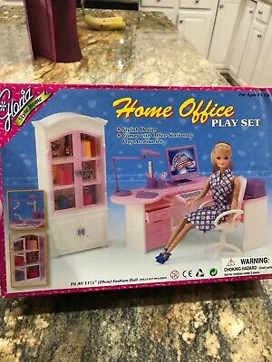 GLORIA FURNITURE Barbie size. Desk , cabinet , chair and accessories nrfb