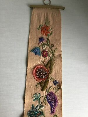 Vintage Art Wool Tapestry Needlepoint  Flowers Foliage Wall Hanging Brass Fixing