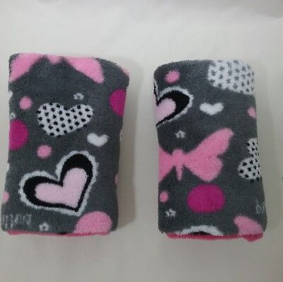 2 pink grey butterfly fabric handle covers luggage bag suitcase seatbelt cover