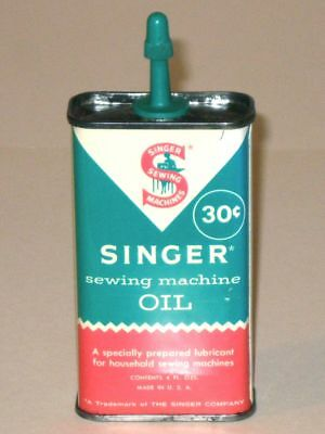 Vintage 1950s SINGER Sewing Machine OIL Advertising Tin CAN! 30¢ Handy Oiler!