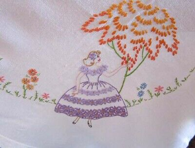 Vintage Crinoline Lady Hand Embroidered Tablecloth