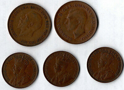 4 Coins: Two (2) 1920 & One (1) 1915 CANADA CENT & One (1) 1935 British Penny